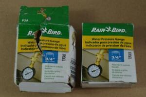 "Pair of Rain Bird P2A Water Pressure Test Gauge 3/4"" Female Hose Thread 0-200PSI"
