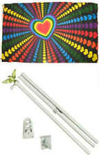 3x5 Gay Pride Love Hearts Rainbow Flag w/ 6' Ft White Flagpole Kit