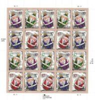 Scott 3883-86 - 37 Cent Santa Ornaments Mini sheet of 20 Stamps MNH