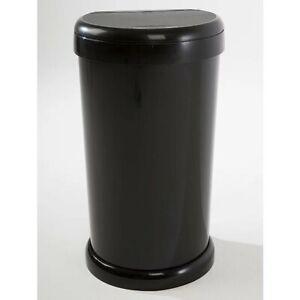 Stylish Modern Bathroom 42L Bin With Liner Touch Press Lid Home Kitchen - Black