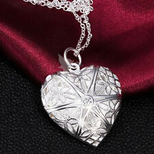 1PC Lover Heart Locket Valentine Lover Chain Necklace Pendant Silver Fine . uk