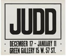 Donald Judd Exhibition Poster, Green Gallery