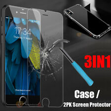 Clear Cover Case + 2x Glass Screen Protector For iPhone 11 Pro Max XR XS Max X