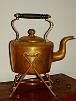 Antique 19th Century Engraved Brass Spirit Kettle & Stand William Soutter & Sons