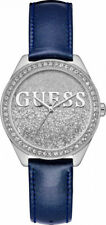 New Guess 36mm Women's Watch GLITTER GIRL Blue Patent Leather Strap W0823L13