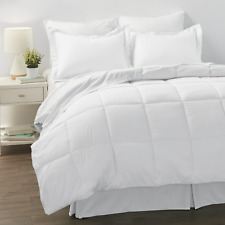 Noble Linens 8-Piece Bed in a Bag Bedding Set, Queen, White
