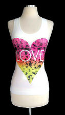 LOVE  HEART WITH SEQUINCE PRINTED TANK  TOP
