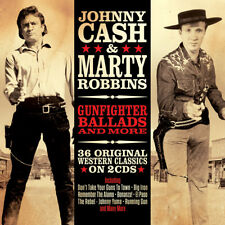 Johnny Cash & Marty Robbins GUNFIGHTER BALLADS & MORE Best Of 36 Songs NEW 2 CD