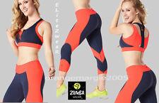 ZUMBA 2 Pc.SET!! Team Z Capri Leggings w Flattering Panel Inserts + Zip BRA TOP