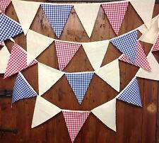 Vintage style bunting red white blue gingham natural calico 5 mtrs ff