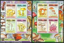 CONGO  2014   MUSHROOMS  SET OF TWO  COLLECTIVE SHEETS OF FOUR  MINT NH