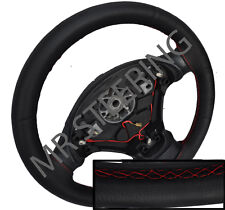 FITS VW LUPO 98-05 BLACK ITALIAN LEATHER STEERING WHEEL COVER RED STITCHING NEW