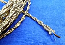CABLE TEXTILE TORSADE 2X0.50mm² , FIL ELECTRIQUE GAINE DE TISSU OR