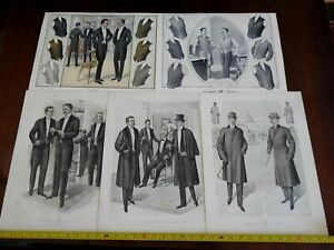 Male Fashion huge prints 1915 lot x 5 stylish suits Tuxedos Top Hats Formal Wear