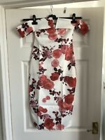 Beautiful New Floral Print White/Pink Bardot Evening Bodycon Dress Size 12