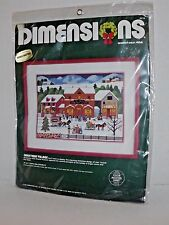 """Dimensions Christmas Village Counted Cross Stitch 1984  # 8319 New 14"""" x 11"""""""