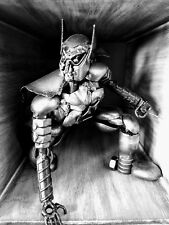 Handcrafted Scrap Metal Batman Crouching Sculpture