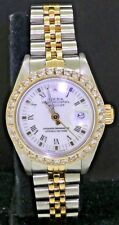 Rolex Datejust 6917 SS/18K gold white Roman dial ladies watch w/ diamond bezel