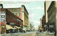 Antique Post Card c.1907 Iowa Des Moines Walnut St. Horse & Buggy Awnings
