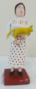 Folk Art Carved & Painted Wood Figure of a Woman Holding a Yellow Cat C.1970's