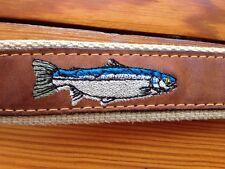 Zepplin Sportsman Mens 34 Leather Belt Embroidered Fish w Brass Buckle USA