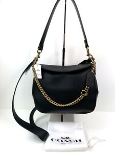 Coach Signature Chain Leather Hobo Black + Coach Dust Bag NWT $350