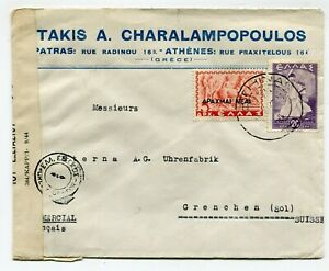 Greece WWII censored cover Athens to Grenchen Switzerland