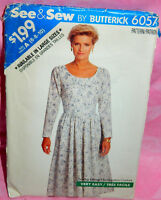 Uncut Butterick Misses 6-10 Long Sleeve Fitted Flared Modest Dress Pattern 6057