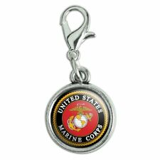 Marines USMC Emblem Black Yellow Red Bracelet Charm with Lobster Clasp