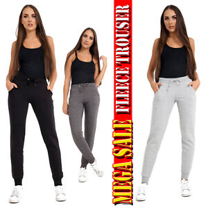 Ladies Womens  Jogging Fleece Bottoms Joggers Casual Trousers Cuffed Gym S to XL
