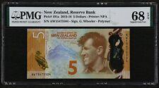 2015-16 New Zealand 5 Dollars, P-191a, PMG 68 EPQ Superb Gem UNC