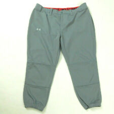 Under Armour Womens XL HeatGear Fitted Gray Softball/Baseball Capri Pants EUC