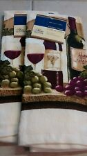 New Cotton Wine Grape Motif 100% Cotton Multicolor Kitchen Towel Set of 2