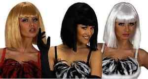 Ladies Disco Diva Wig Showgirl Burlesque Lady Gaga Cleopatra Fringe Fancy Dress