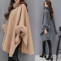 Wool Women's Flare Sleeve Ladies Cape Coat Fashion Faux Fur Collar Poncho Winter