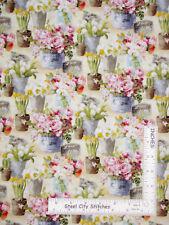 Flower Pots Plants Garden Cream Cotton Fabric Le Cafe Wilmington By The Yard