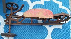 1930s Antique Michiana Flyer Irish Mail Pump Rider Toy Iron For Restoration