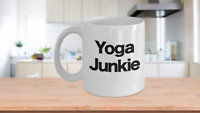 Yoga Junkie Mug White Ceramic Coffee Cup Funny Gift for Teacher, Instructor,