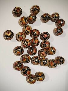 Gold Colored Cloisonne Beads, (28) 12mm Round Black, Orange and Red Beads