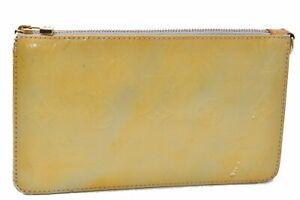 Authentic Louis Vuitton Vernis Lexington Pouch Yellow M91058 LV D2591
