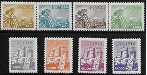 Bolivia Scott #414-17 & C208-11, Singles 1960 Complete Set FVF MH