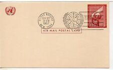 Naciones Unidas Nueva York Entero postal primer día año 1957 (DE-764)