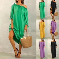 Womens 3/4 Sleeve Off Shoulder Sundress Cocktail Party Long Maxi Dress Plus Size