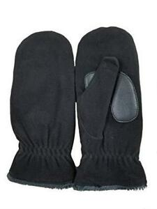 Isotoner Ladies BLACK Fleece SmartDRI Mittens Suede Palm Chenille Fleece Lined