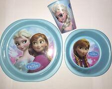 NEW DISNEY FROZEN ANNA ELSA BLUE 3 PIECE DINNER SET TUMBLER SET PLATE BOWL CUP