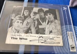 THE WHO x4 signed 6x8 photo with Moon AUTOGRAPH auto BAS Beckett encapsulation