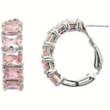 Sterling Silver and Pink CZ Hoop Earrings