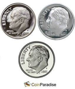 2000 2001 & 2002 SILVER Proof Roosevelt 3 dimes from US Mint Silver sets CP1668