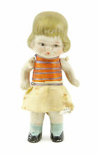 """Old Vintage Antique Japan Miniature 3"""" Girl Doll Toy W/ Jointed Arms Japanese"""