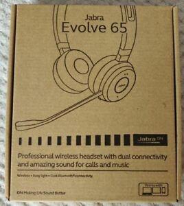 New Jabra EVOLVE 65 UC Stereo Wireless Bluetooth Headset - PN / 6599-829-409